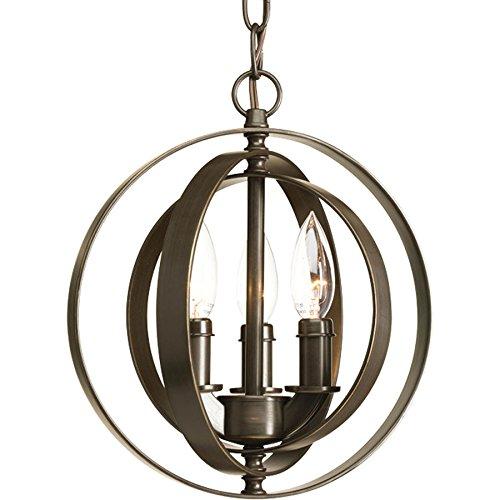 (Progress Lighting Equinox 10.125-in Antique Bronze Single Orb Pendant)