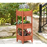 Leisure Season PB2021-N 3-Tier Planter Box Plant-Stands, Medium Brown