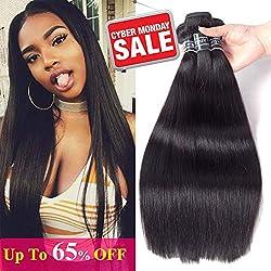 "Amella Hair Brazilian Virgin Hair Straight Human Hair (20"" 22"" 24"",300g)8A 100% Unprocessed Brazilian Straight Virgin Hair Extension Weaves Natural Black Color"