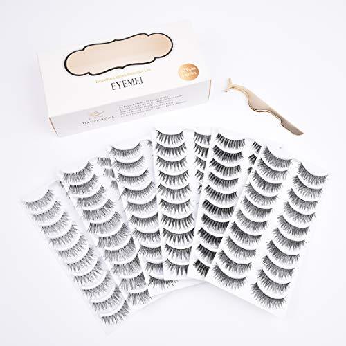 - 60 Pairs 6 Styles Lashes Strip Handmade False Eyelashes Multipack Eyelashes Set Natural Soft Comfortable with Eyelash Tweezers by EYEMEI