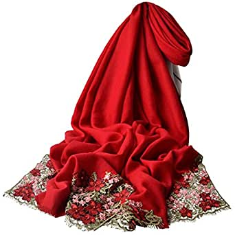 HangErFeng Women Scarf Wool Embroidered Warm Soft Luxurious Lace Decoration Shawl Christmas Valentine gift packaging