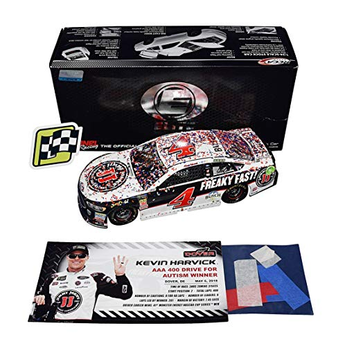 (2X AUTOGRAPHED 2018 Kevin Harvick & Rodney Childers #4 Jimmy Johns DOVER WIN (Raced Version with Confetti) Signed RCCA ELITE 1/24 NASCAR Diecast Car with COA (#239 of only 269 produced!) )