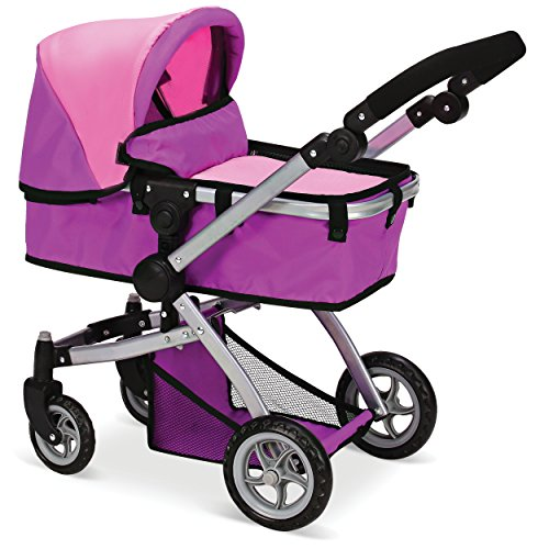 Mommy & Me Doll Collection Babyboo Deluxe Doll Pram Color Pink and Purple with Swiveling Wheels & Adjustable Handle and Free Carriage Bag - 9651B Pink And Purple -