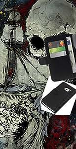 YiPhone /// Tirón de la caja Cartera de cuero con ranuras para tarjetas - Patrón del cráneo del pirata - Samsung Galaxy S6 EDGE