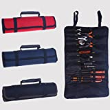Hense Large Wrench Roll Up Tool Roll Pouch Bag, Big Tote Carrier Organizer, Easy Storage & Portable, Best for Craftwork Handymen Repairmen (HSZ-15-03, black)