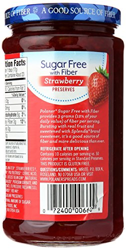 Polaner Sugar-Free Strawberry Preserves with Fiber, 13.5 Ounce