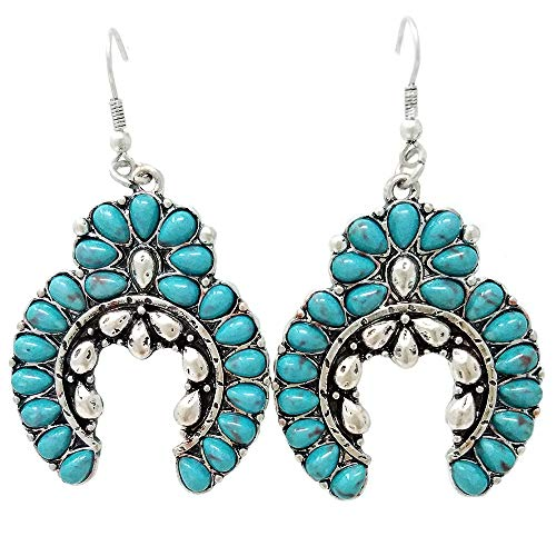(Navajo Western Turquoise Squash Blossom Fish Hook Earrings)