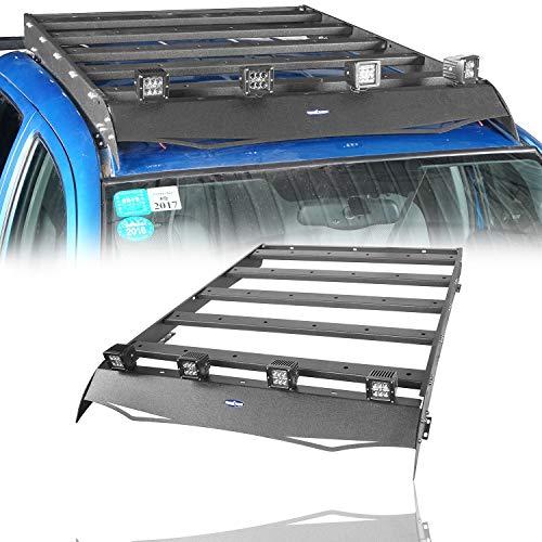 Cargo Spotlight - u-Box Toyota Tacoma 2005-2015 4 Doors Storage Cargo Basket Luggage Carrier Roof Rack w/4 X 18W LED Spotlight