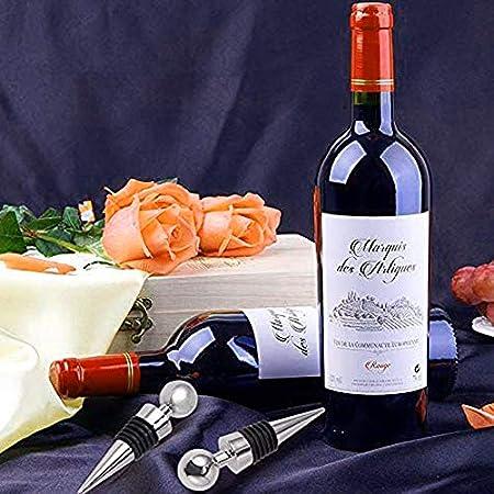 N\O 6 Piezas Tapones de Vino Tapón para Botella de Champán de Acero Inoxidable y Vino Tinto Espumoso Tapon de Vino para Mantener el Vino Fresco para Colección de Vino Tinto Champán Cerveza