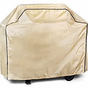 Abba Patio Weatherproof Outdoor/Porch Barbeque/ BBQ Grill Cover, Water and Fire Resistant, Tan Color, Large