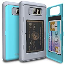 Galaxy Note 5 Case, TORU [Note 5 Wallet Case Teal] Protective Slim Fit Dual Layer Hidden Credit Card Holder ID Slot Card Case with Mirror for Samsung Galaxy Note 5 - Cyan