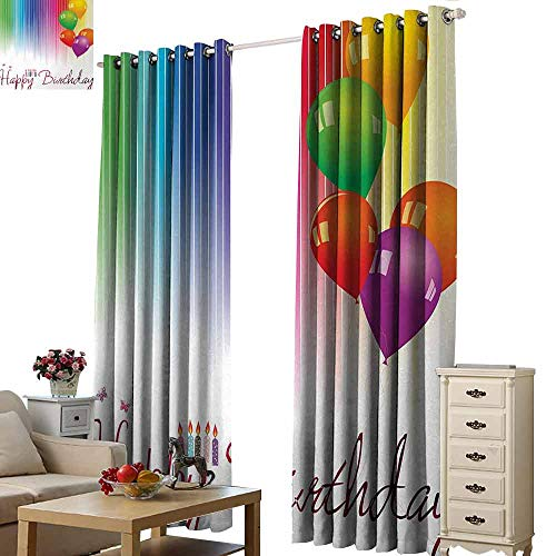 Homrkey Bedroom Curtains 2 Panel Birthday Rainbow Colored Striped Backdrop Balloons Stylized Lettering Candles Artwork Prit Thermal Insulated Tie Up Curtain W108 xL96 Multicolor
