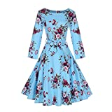 Women 1950's Long Sleeve Retro Floral Vintage Dresses with Hight Waist Design