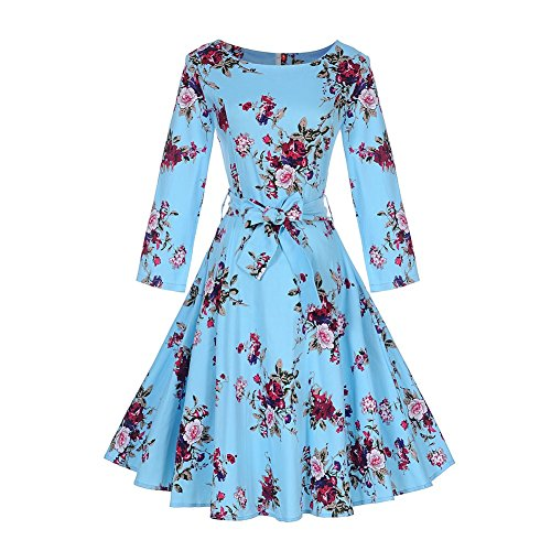 DREAMLOVER Retro Floral Dress Vintage Long Sleeve Tea Dress With (Can Can Dress)