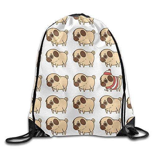 Dunh Puglie Pug Gym Sack Bag Drawstring Backpack Sport Bag