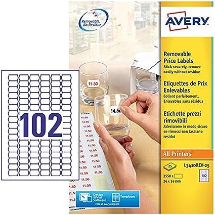 Avery L3410REV-25 - Pack de 25 folios de etiquetas de precio ...