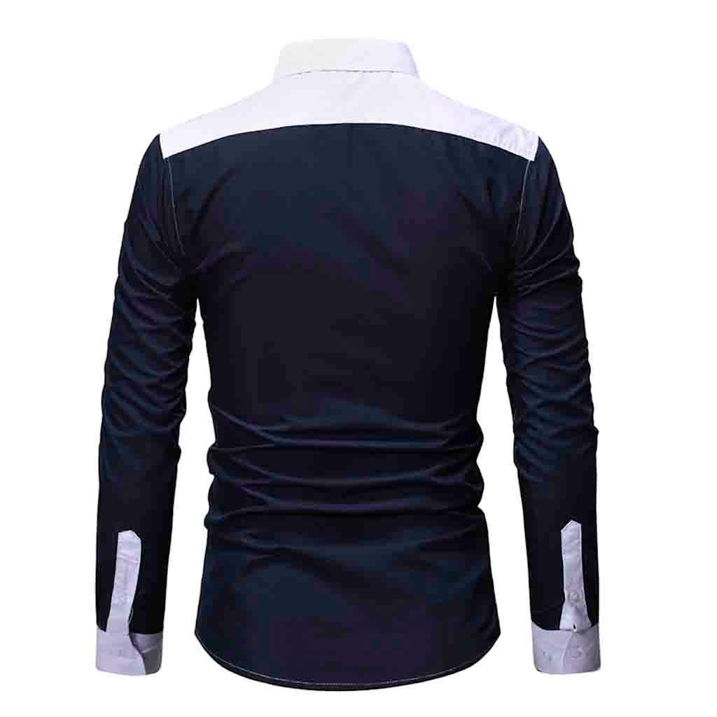 Uqiangy Fashion Men/'s Long Sleeve Patchwork Casual Slim Fit Button Down T-Shirt
