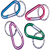 U.S. Toy Assorted Color Rock Climber Carabiner Style Key Chains (1-Pack of 12)