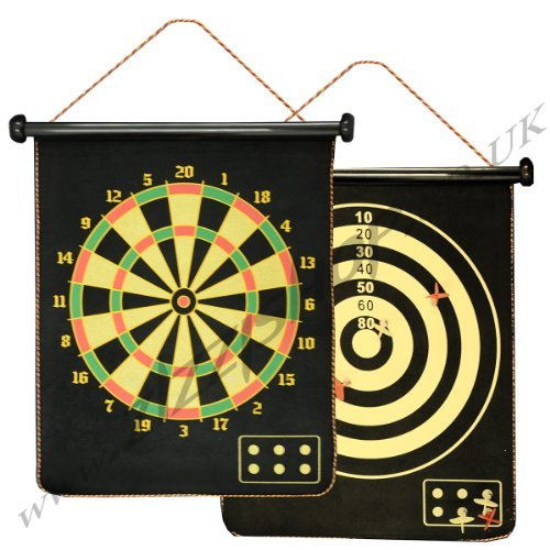 Magnetic Reversible Dartboard & Golf Dart Game 6 Darts Roll Up Easy to...