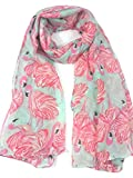 Lina & Lily Flamingo Print Women's Lightweight Long Scarf (Turquoise)