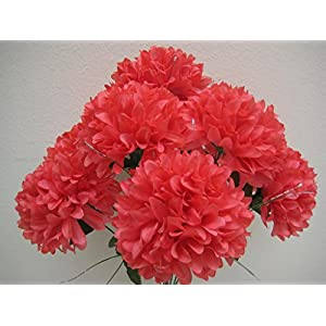 "Chrysanthemum Mum Ball Bush 10 Artificial Silk Flowers 19"" Bouquet 2302 Coral 28"