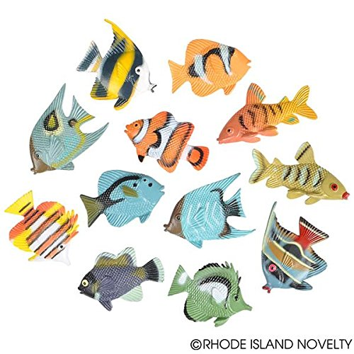 (JUST 4 FUN 2 Dozen (24) Mini Plastic TROPICAL FISH Figures 1.5