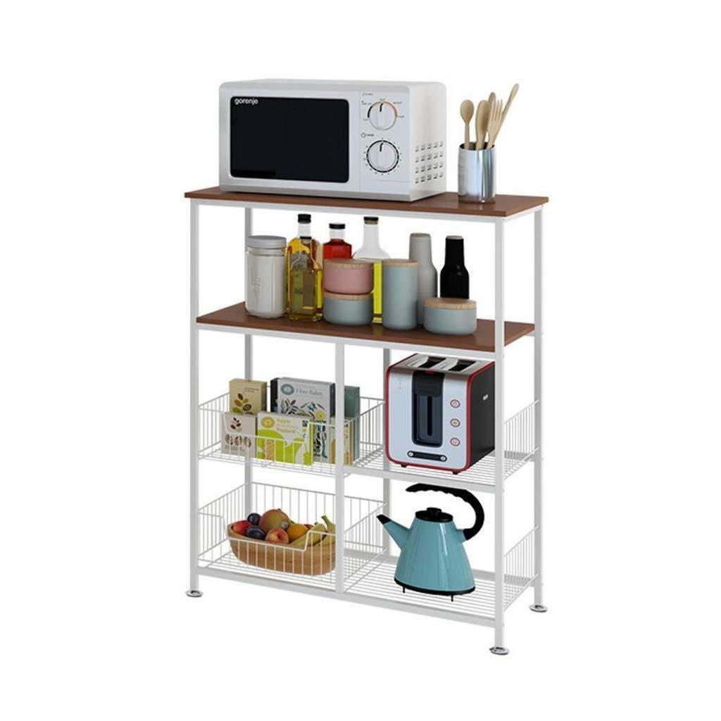 キッチン収納ラック - キッチン棚床4多層ポットラック電子レンジ収納ラック収納ラック家庭用棚 WJuian (Color : Light Color) B07RPHSQMQ Light Color