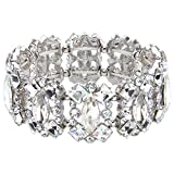 EVER FAITH Women's Crystal Vintage Style Elegant Bridal Elastic Stretch Bracelet