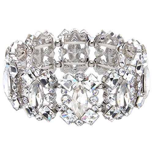EVER FAITH Women's Crystal Vintage Style Elegant Bridal Elastic Stretch Bracelet Clear Silver-Tone