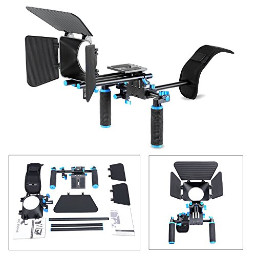 DSLR Movie Video Making Rig Set System Kit for Camcorder or DSLR Camera Such as Canon Nikon Sony Pentax Fujifilm Panasonic,include:(1)Shoulder Mount+(1)15mm Rail Rod System+(1)Matte box (Film Making Kit)