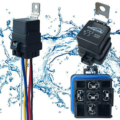 1 PACK 40/30 AMP 12 V DC Waterproof Relay and Harness - Heavy Duty 12 AWG Tinned Copper Wires, 5-PIN SPDT Bosch Style Automotive - Fuel Pump 30a