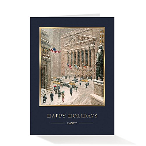 Pack of 25 Wall Street Greetings Premium Wintry Wall Street 5x7 foldover holiday cards with 25 Peel & Seal ivory gold foil-lined envelopes (Envelopes Foil Gold Ivory)