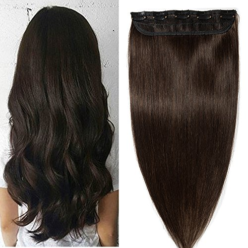 16 inch One Piece Clip in 100% Remy Human Hair Extensions Long Straight 3/4...