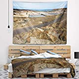 Designart TAP10727-60-50 'Salt in Lanzarote Spain Musk Pond' Seashore Tapestry Blanket Décor Wall Art for Home and Office, Large: 60 in. x 50 in.
