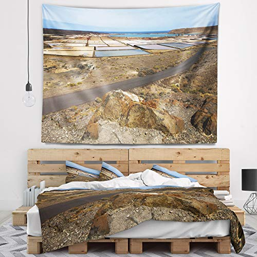 Designart TAP10727-60-50 'Salt in Lanzarote Spain Musk Pond' Seashore Tapestry Blanket Décor Wall Art for Home and Office, Large: 60 in. x 50 in. by Designart