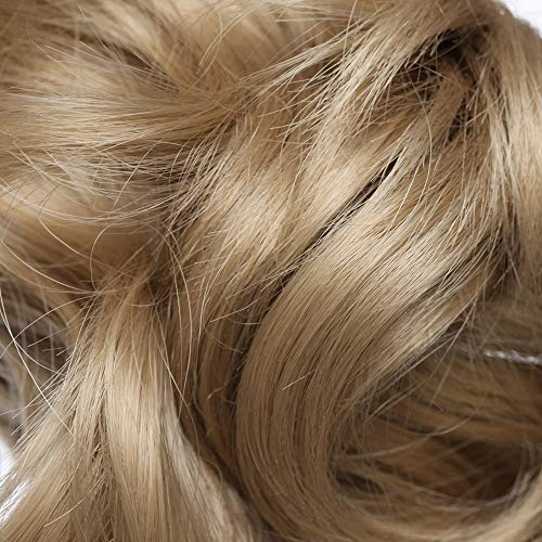 Coleta Postiza Corta con Pinza Extensiones de Cabello Natural Clip Coleta Sintética Coletero Pelo Postizo para Mujer Rizada Ondulada 12 ...