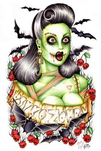Psycho Zombie Hilary Jane Bats Cherry Skulls Tattoo Giclee Art Print