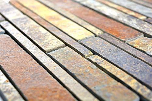 Mosaik Fliese Schiefer Naturstein rost Brick Schiefer rustik Wandverkleidung K/üchenfliese MOS34-2525