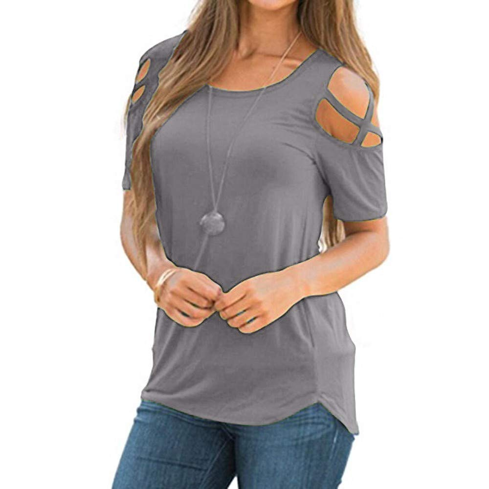 yiqianzhaobiao_T-shirt YQZB Womens Summer Round Neck Cold Shoulder Tees Slim Tunic by yiqianzhaobiao_T-shirt