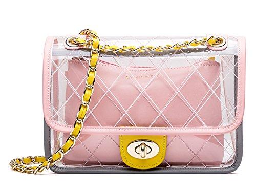 SAIERLONG mujer Bolsa de cadena transparente Cuero De La Pu Mochila para mujer(toumingbag02-2-Pink) 2-rosa