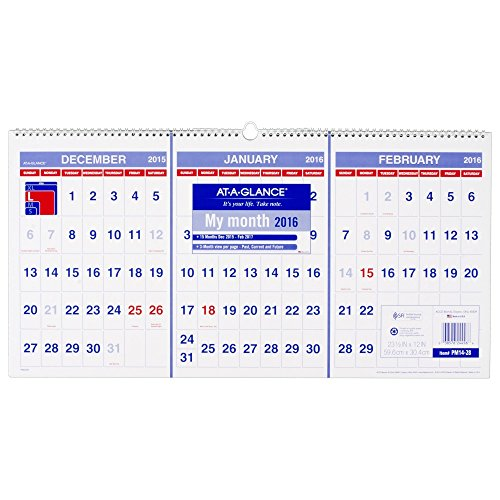 AT-A-GLANCE Wall Calendar 2016, 3-Month Reference, Horizontal, 15 Months, 23.5 x 12 Inch Page Size (PM1428) -