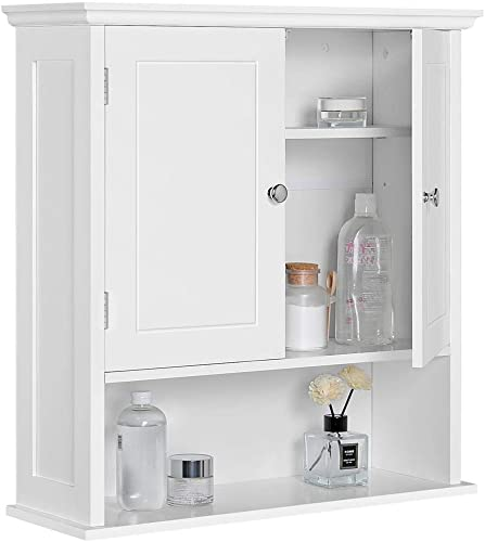 Topeakmart White Two-Door Wall Cabinet, Bathroom Hanging Cabinets with Open Storage Cube and Inner Adjustable Shelf, Multifunctional Use