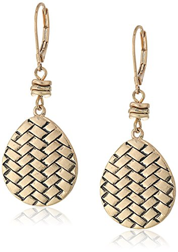 Basketweave Drop Earrings (The SAK Basket Weave Gold Drop Earrings)