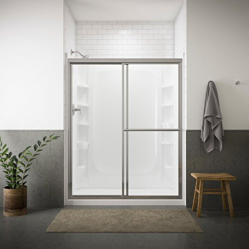 (STERLING 5970-59S Deluxe By-Pass Bath Door, Silver with Pebbled Glass Texture)