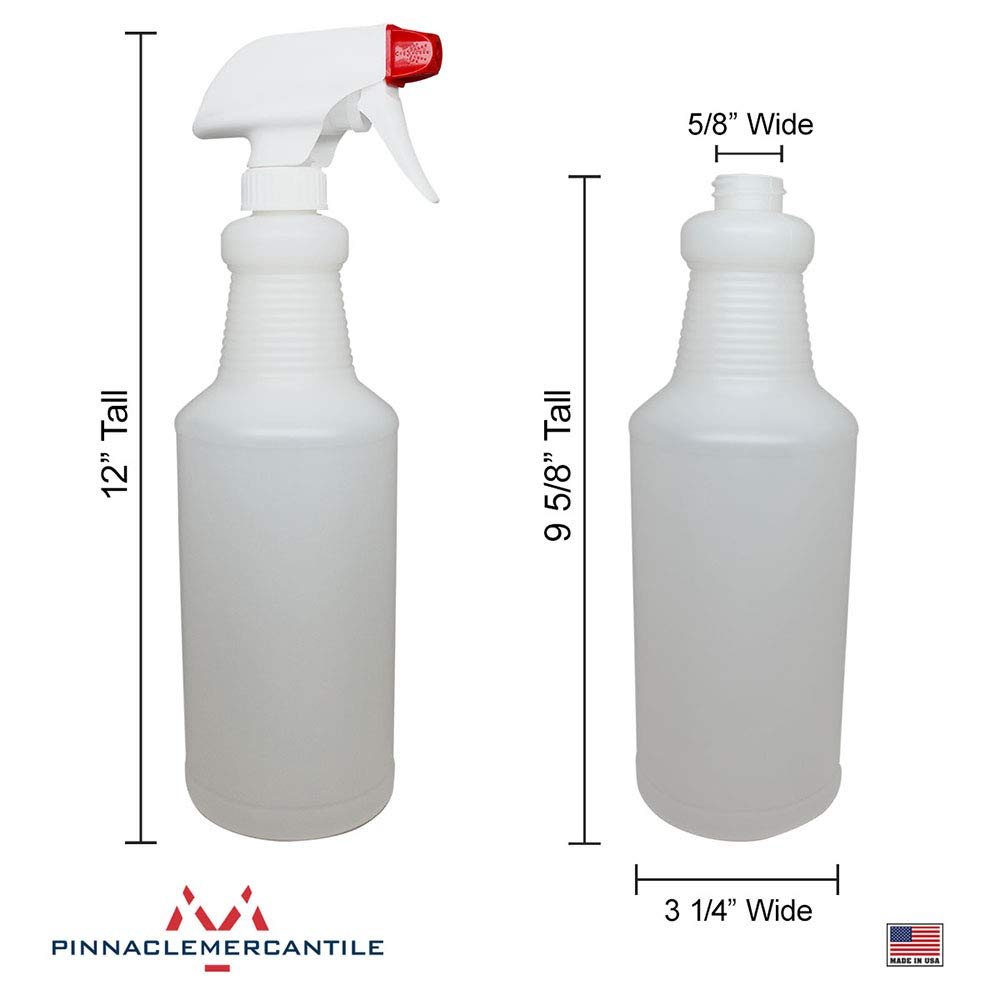 Pinnacle Mercantile Plastic Spray Bottles Leak Proof Technology Empty 32 oz 10 Pack Made in USA