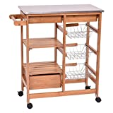 Kitchen Island Shelf Organizer Cart Rack Trolley