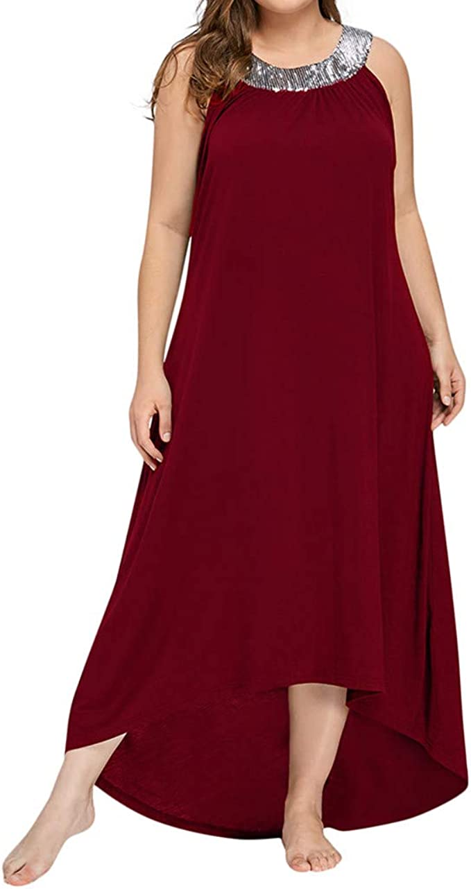 Ansenesna Kleid Damen Sommer Lang Elegant Schick Große Größen,Asymmetrisch  Vintage Abendkleid Für Mollige