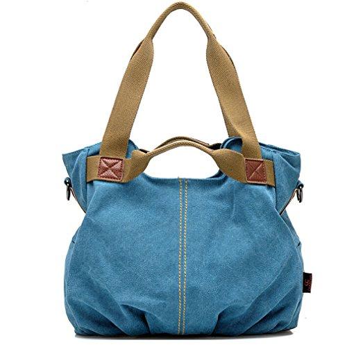 TAILUN Women's Ladies Casual Canvas Daily Purse Hobo Shoulder Bag (Blue)