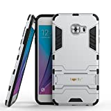 Heartly Samsung Galaxy C5 Back Cover Graphic Kickstand Hard Dual Rugged Armor Hybrid Bumper Case - Champagne Silver