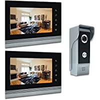 AMOCAM 7 Video Intercom Systems, Aluminum Alloy / Acrylic Panel Doorphone, Wired Video Door Phone Doorbell Kits, Support Monitoring, Unlock, Dual-way Door Intercom, 2- LCD Monitor, 1- IR Camera